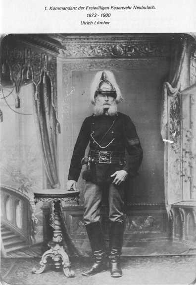 Schwarzweißbild von Kommandant Ulrich Lörcher 1873 - 1900 in Uniform